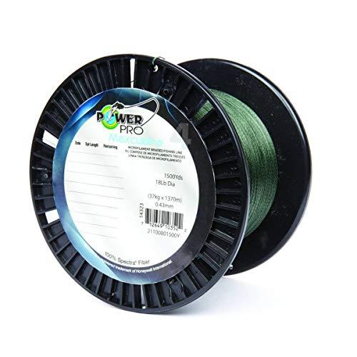Power Pro 33400501500E Maxcuatro Braided Fishing Line, 50 lb/1500 yd, Moss Green