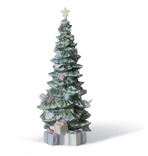 LLADRÓ Figurina Albero di Natale con Regali. Figurina Albero di Natale di Porcellana.