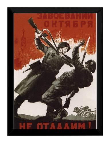Quadro Propaganda Guerra Revolução Russa Cartaz Moldurado