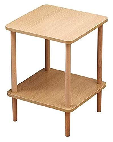 KAYBELE Happyl Wood Solid Cama Doble Cama 2layer Mueble de partición de Almacenamiento Mesa Multifuncional (Color : Wood, Size : 40 * 40 * 53CM)