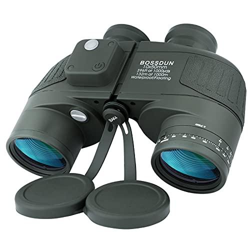 10x50 Binocolo Marino per Adulti, Binocoli Militare Impermeabile con Bussola Telemetro BAK4 Prisma Lente FMC Antiappannamento per la Navigazione Birdwatching Caccia (LP02G)