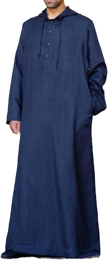 Eyastvgnf Muslim Robe Hoodies Kaftan Mens Saudi Arab Dubai Long Sleeve Arabic Long Islamic Man Clothing