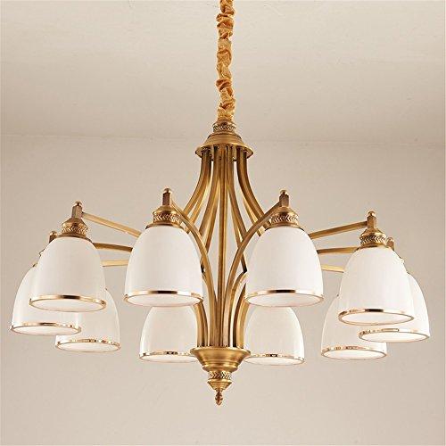 5151BuyWorld lamp van zuiver koper, Europese, hanglamp, slaapkamer, van glas, lampenkap voor elke dag, eetkamer, woning, hoogwaardige kwaliteit