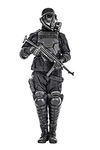 Posterazzi PSTZAB102967MLARGE Futuristic Nazi Soldier Wearing Gas mask and Steel Helmet with Schmeisser Submachine Gun Photo Print, 24 x 36, Multi