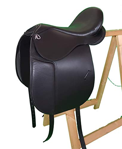A&M Reitsport Baumloser Dressur Sattel Bristol aus Büffelleder Schwarz, Mit Klettkissen, Größe:16 Zoll