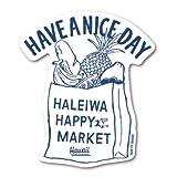 ハレイワハッピーマーケット ステッカー ショッピングバッグ イラスト HHM093 おしゃれ ハワイ ノースショア グッズ