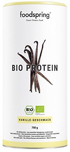 foodspring Bio Protein Pulver, Vanille, 750g, Eiweisspulver zum Muskelaufbau, Nachhaltiges Bioproteinpulver aus natürlichen, pflanzlichen Zutaten
