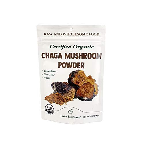 Cherie Sweet Heart Organic Chaga Mushroom Powder - 100% Pure, USDA Certified Organic - 3.5 oz