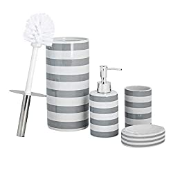 Harbour Housewares Grey Stripe Bathroom Accessory Set