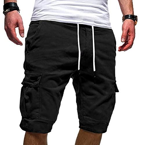 Esque Pantalones Cortos Deportivos Casuales De Verano con Herramientas Talla Grande para Hombre,Pantalones Correr Entrenamiento Gimnasio Ropa Informal,Negro,L