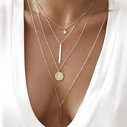 KONZFK collar38 Modelos de Collar Colgante de Cadena Larga para Mujer, joyería con dijes rectangulares Multicapa, Gargantilla Femme Collier