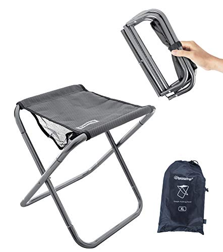 Camping Stool, 16in Tall Large Size Folding Stool with Carry Bag ,Aluminum Alloy Bracket,1.5lbs Lightweight , Load Capacity to 300lbs, for Outdoor, Travel, Hiking, BBQ, Fishing, Beach(Grey)