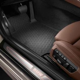 Genuine BMW 6 Series All Weather Rubber Floor Mats- FRONT - Black (BMW 2012-2013 640i Convertible, 650i Convertible, 640i Coupe, and 650i Coupe/ 2013 M6 Convertible/ 2013 M6 Coupe)