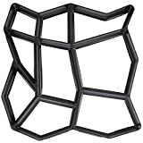 Concrete Molds 16.9 x 16.9 x 1.6 Inches Big Size Reusable Stepping Stone Molds Walk Maker - DIY Heavy Duty Pavement Paving Cement Molds for Walkways Lawn Patio Yard Garden 9-Grids Irregular (Black)