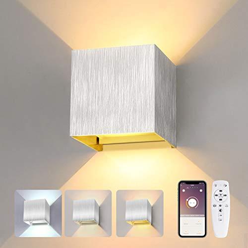 Led Wandleuchte Innen mit Fernbedienung 24W Smart Wandlampe Dimmbar 2700K-6500K , Einstellbar Abstrahlwinkel Moderne Up Down Wandlampe für Schlafzimmer Wohnzimmer