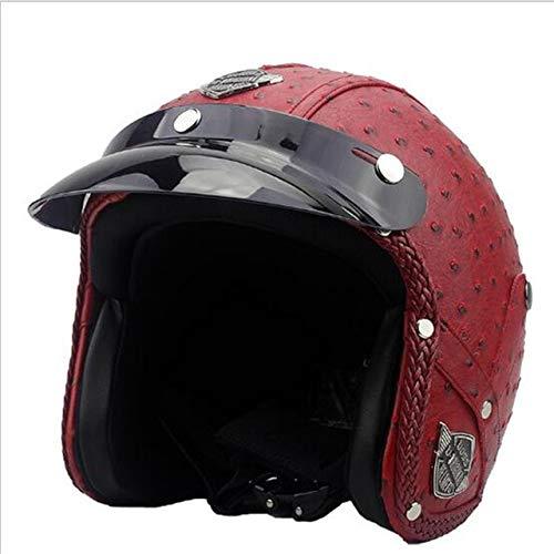Vintage Motorrad Helm für Männer Frauen Classic Retro Open Facefür Motorrad-Pineapple pattern-2-XL