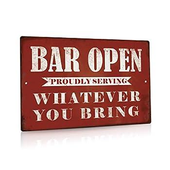 Putuo Decor Bar Open Metal Tin Sign Bar Man Cave Funny Wall Decor 8 x12