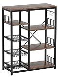 Baker's Rack, Corner Storage Shelf with 3 Mesh Baskets and 6 Hooks, Microwave Stand Kitchen Storage Rack (Brown)
