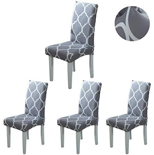 ARNTY Stuhlhussen 4er 6er Set,Stretch Stuhl Bezug Esszimmer,Universal Moderne Elastische Hussen für Stühle für Esszimmer Party Hotel Restaurant Deko (Grau-Diamant, 4 Stück)