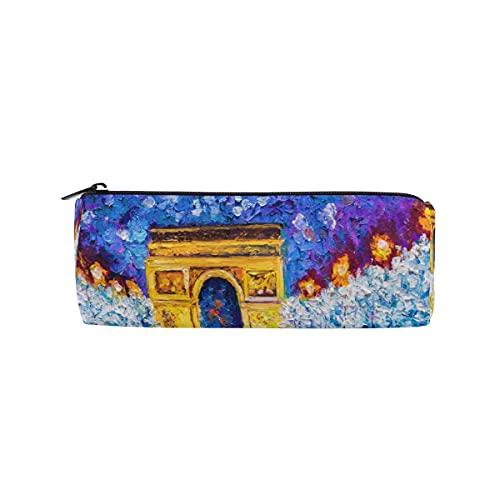 HaJie Federmäppchen Ölgemälde Arc de Triomphe Paris Stifteetui mit Reißverschluss Schreibwaren Organizer Tasche für Mädchen Jungen Kinder Frauen Männer