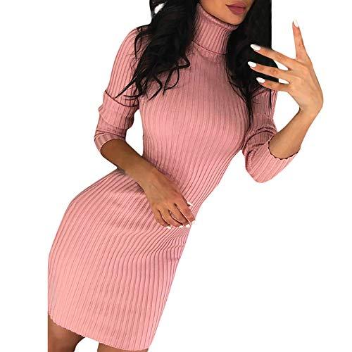 iHENGH Damen Herbst Winter Bequem Lässig Mode Frauen Casual Langarm Pullover Rollkragenpullover Kleid(Rosa, M)