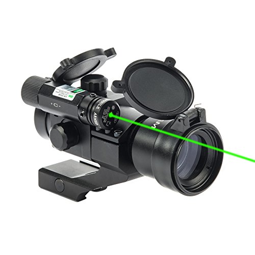Hiram 1X30 4 MOA Green Red Dot Sight for Rifles with Green Laser, Picatinny Cantilever PEPR Mount