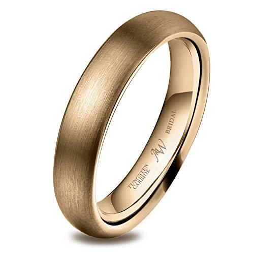 AW BRIDAL Alianza Unisex Cepillada para Mujer/Hombre, Oro de 4 mm, Ajuste Cómodo para Matrimonio, Compromiso, Asociación, Tamaño22