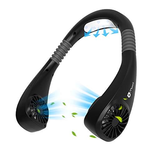 Moocii Nackenventilator Personal Fan Tragbarer Klimaanlage 2 Lüfter 6 Modus Elektrischer Mobiles Klimagerät USB Air Cooler Hals Ventilator