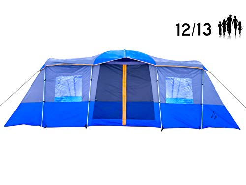 Americ Empire Cabin Instant Tent with 3 Room XL (21ft x 10ft). Huge Family Tents for Camping 12-13-14 Person Waterproof. Large Fits Up to 6 Queen Beds. Easy Assembly with Mosquito Mesh-Blue