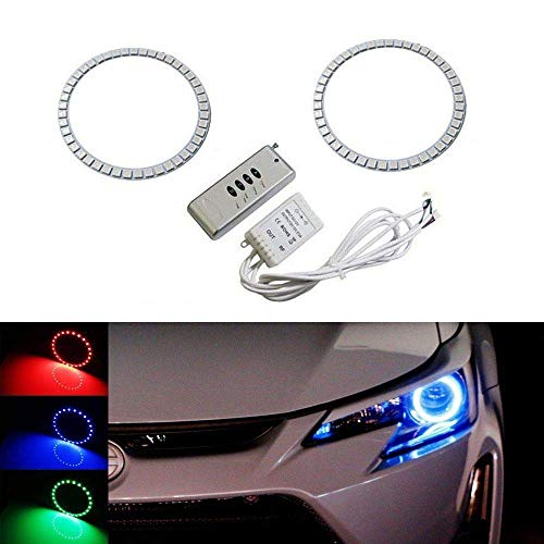 iJDMTOY (2) 7-Color RGB LED Angel Eye Halo Rings w/Wireless Remote Compatible With 2014-2016 Scion tC Projector Headlight Retrofit