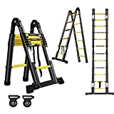HENGMEI Escalera telescópica de aluminio plegable, 3,8 m, escalera deslizante, escalera extensible, escalera extensible de aluminio, multiusos, color negro
