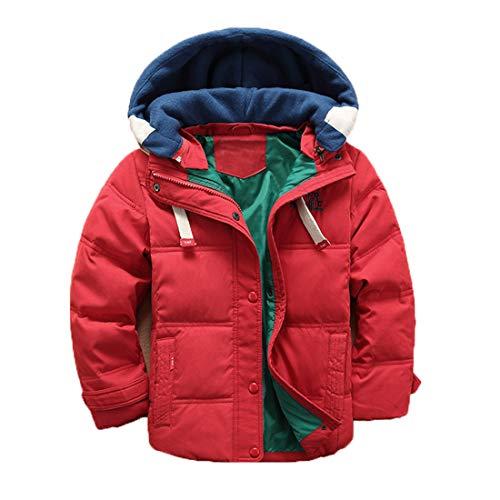 Enfant Doudoune à Capuche en Duvet de Canard Chaud d'hiver Fille et Garçon Veste Blouson Manches Longues Ski Vin Rouge 5-6 Ans