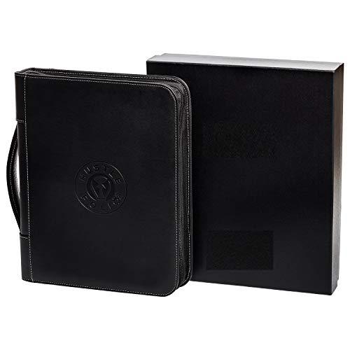 Professional Leather Binder Portfolio   Zippered Folio for Business Interview - 3 Ring Padfolio Organizer