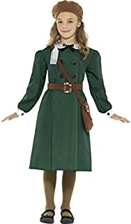 Girls Teen Green 1940s WW2 4 Piece Dress Evacuee World Book Day Historical Fancy Dress Costume Outfit 4-14