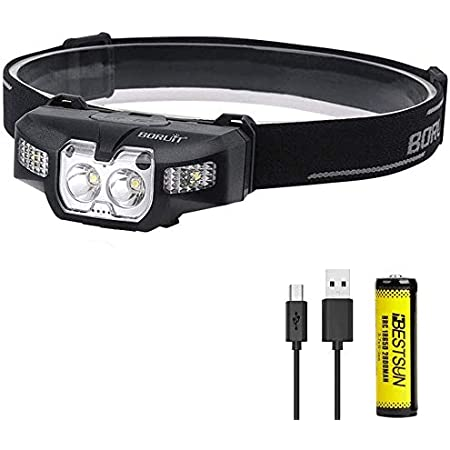 Red LED Headlamp Rechargeable 3600 Lumens Super Bright LED Headlight Adjustable Headlamp Motion Sensor Waterproof Head Torch for Hunting, Camping, Hiking, Running.