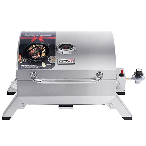 Royal Gourmet GT1001 Stainless Steel Portable Grill, 10000 BTU BBQ Tabletop Gas Grill with Folding Legs and Lockable Lid, Outdoor Camping, Deck and Tailgating, Silver Grills Propane