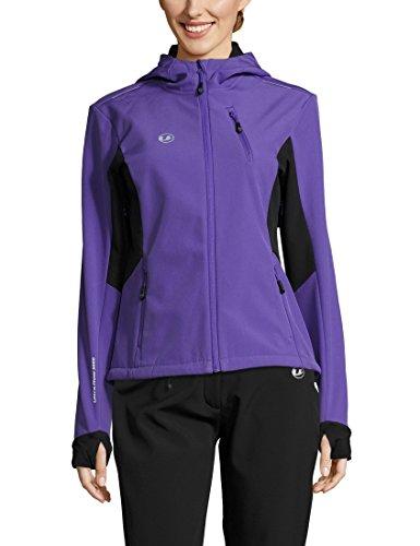 Ultrasport Advanced Damen Softshelljacke Bibi, moderne zweifarbige Funktionsjacke, Outdoorjacke, Laufjacke, Fitnessjacke, Lila/Schwarz, M