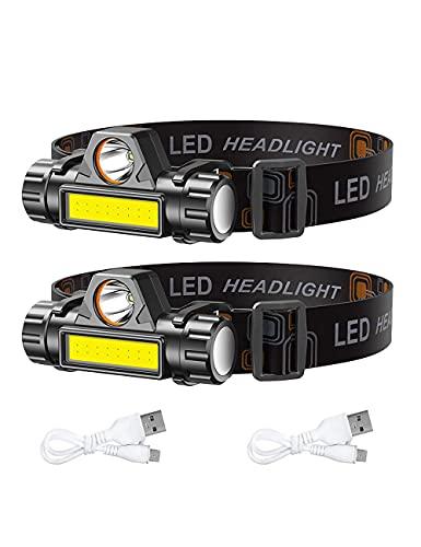 Linterna LED para faros delanteros, 2 unidades, recargable LED, para correr, camping, senderismo y más lúmenes, recargable por USB, camping al aire libre, ciclismo, pesca, linterna de faro