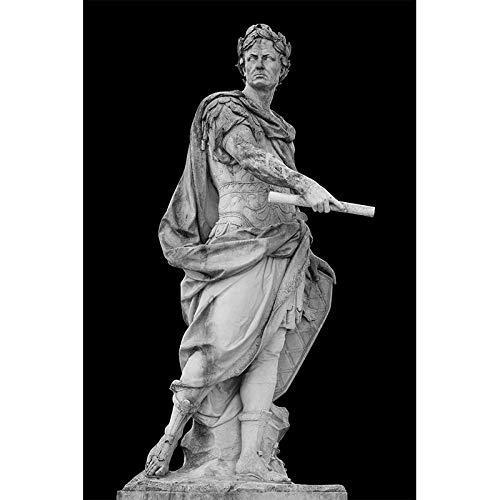 Schwarz-Weiß-Wand Bilder Römischer Kaiser Caesar Statue Leinwand Bild Büro Mode Gemälde Poster und Kunstdrucke Home Wohnzimmer Wanddekoration (40x60cm No Frame)