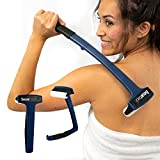 Bearback Lotion Applicator for Back & Body. Premium Quality Long Handled Folding Lotion Roller. American Owned Small Business (Navy Blue)
