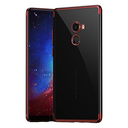 BLUGUL Cover Xiaomi Mi Mix 2, Electroplating Coloring, Ultra Sottile, Morbida TPU Silicone Case, Trasparente Chiaro Custodie per Xiaomi Mix 2 Rosso