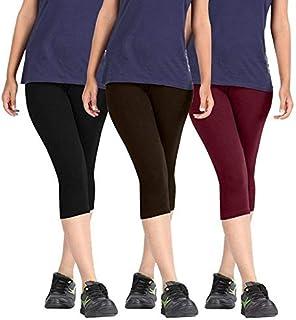 Premium Cotton Strachable Women's Casual/Gym/Sports 3/4th Capri,Free Size, Pack of 3 Capris