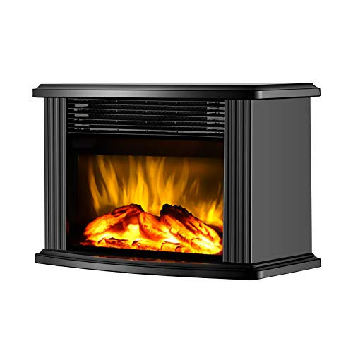 "DONYER POWER 14"" Mini Electric Fireplace Tabletop Portable Heater, 1500W, Black Metal Frame,Room Heater,Space Heater,Gift"