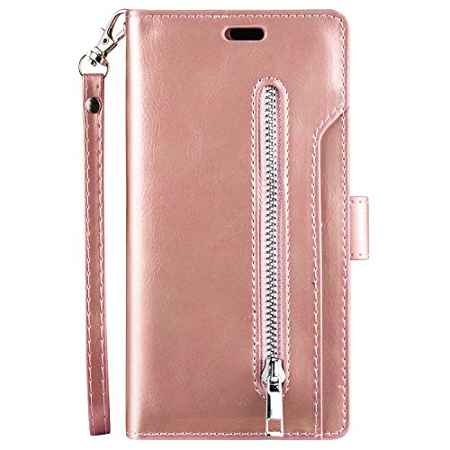 QPOLLY Kompatibel mit Xiaomi Mi A3 Hülle Klappbar Ledertasche,PU Leder Handyhülle Reißverschluss Brieftasche Magnet Geldbörse Schutzhülle mit 9 Kartenhalter Standfunktion,Roségold