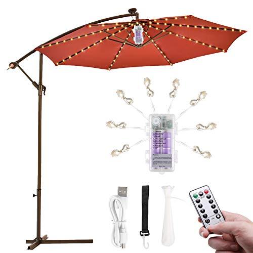Regenschirm Lichterkette B-right Lichterkette für Sonnenschirm Sonnenschirmbeleuchtung LED Lichtbänder mit Fernbedienung, wiederaufladbare Batterie, 104LED, für Schirmdekoration, Campingzelte.