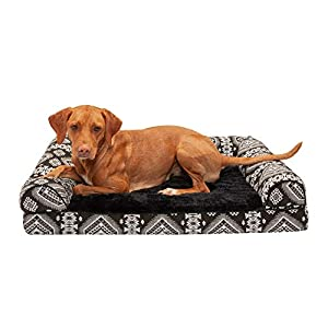Furhaven Pet Dog Bed – Cooling Gel Memory Foam Plush Kilim Southwest Home Decor Traditional Sofa-Style Living Room Couch Pet Bed with Removable Cover for Dogs and Cats, Black Medallion, Large