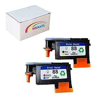 INKMATE Re-Manufactured Printhead Replacement for HP88 C9381A C9382A for HP Officejet Pro K5400 L7480 L7500 L7550 L7580 L7590 L7650 L7680 L7710 L7750 L7780 L7790  1 BK/Y,1 C/M,2Pack