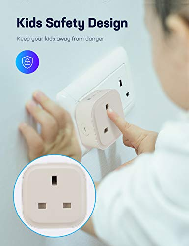 TECKIN Smart Plug 13 A Presa WiFi, Smart Plug funziona con Siri Alexa Echo e Google Home, telecomando senza fili, senza hub richiesto, solo 2,4 GHz (2 pezzi)