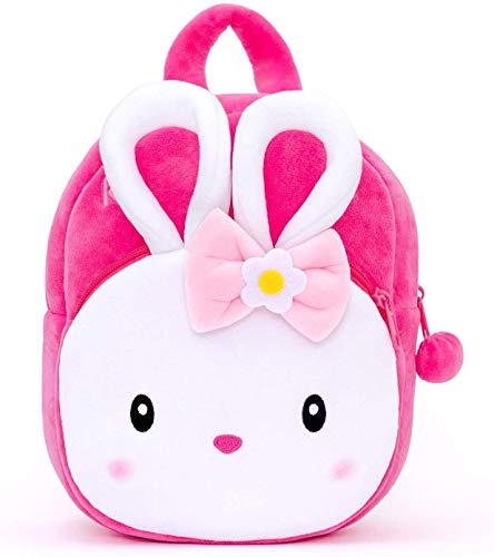 Blue Tree Girl's and Boy's Plush Minnie Cartoon School Bag Backpack (Pink, 3 to 5 Year)
