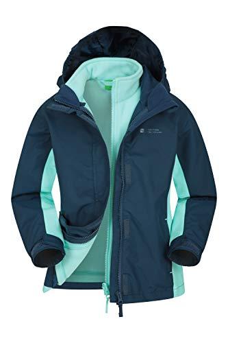 Mountain Warehouse Lightning wasserfeste 3-in-1-Kinder-Jacke - Triclimate-Jacke mit versiegelten Nähten, abnehmbare Kapuze, Fleece-Futter, mehrere Taschen, Winter Blau 9-10 Jahre